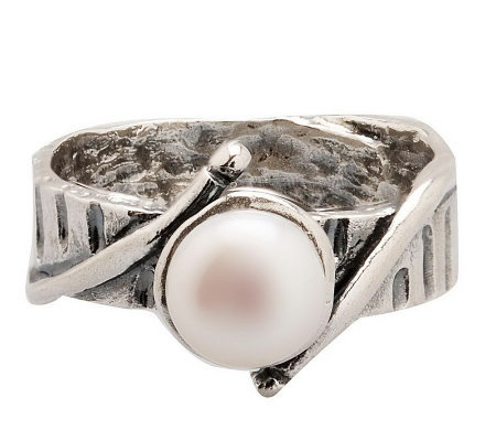 Or Paz Sterling 7.0mm White Cultured FreshwaterPearl Ring