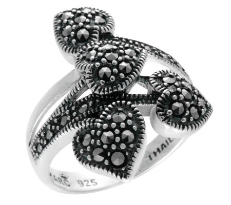 Suspicion Sterling Marcasite Crossover Heart Ring