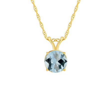 "1.00 ct Round Aquamarine Pendant w/18"" Chain, 14K Gold"