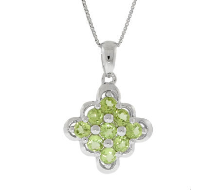 "Sterling Peridot Scalloped-Edge Pendant with 18"" Chain"