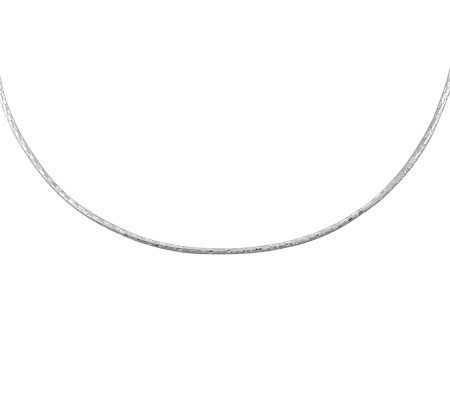 "UltraFine Silver 17"" Diamond-Cut Omega Necklacewith Extender"