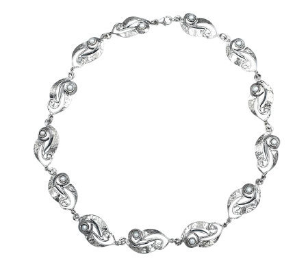 Or Paz Sterling Cultured Pearl Swirling Stations Necklace