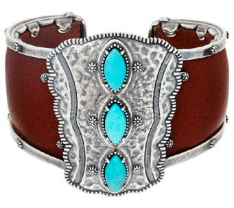 Jennifer Nettles Sterling Silver Turquoise Bold Leather Cuff - J324061