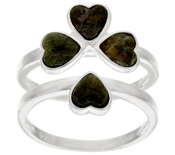 """As Is"" Connemara Marble & Sterl. Interlocking Shamrock Ring - J325761"