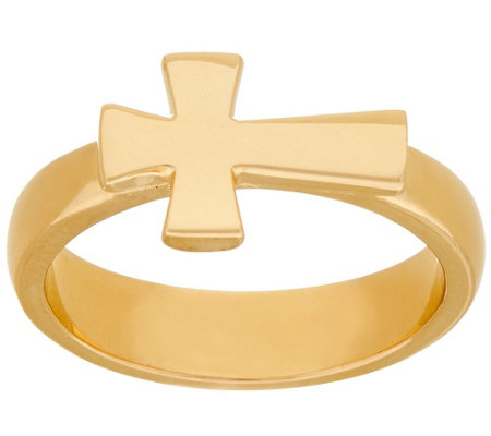 Bronze Polished Horizontal Cross Ring by Bronzo Italia