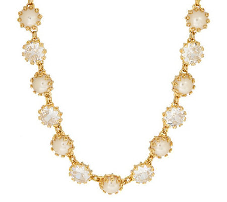 """As Is"" Isaac Mizrahi Live! Dazzling Facets Simulated Pearl Necklace"