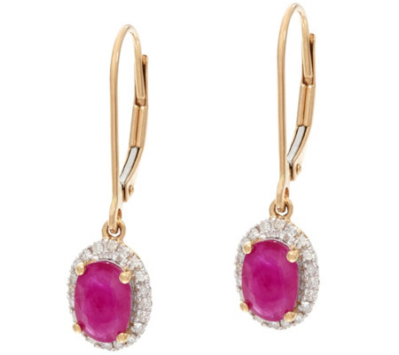 Oval Mozambique Ruby & Diamond Drop Earrings 14K Gold 1.30 cttw