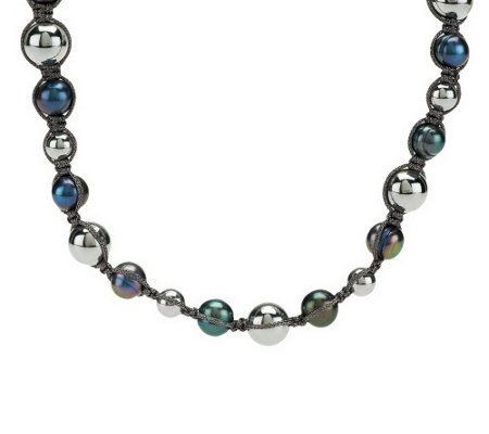"""As Is"" Honora Cultured Pearl and Hematite Macrame Necklace"