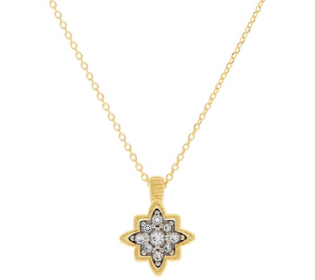 "Genesi 18K Clad White Topaz Star Pendant with 18"" Chain"