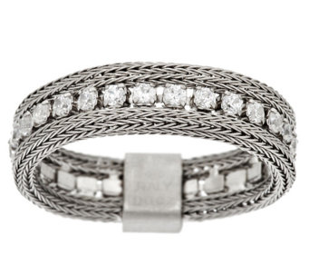 """As Is"" Vicenza Silver Sterling Woven Mesh Diamonique Band Ring - J330661"