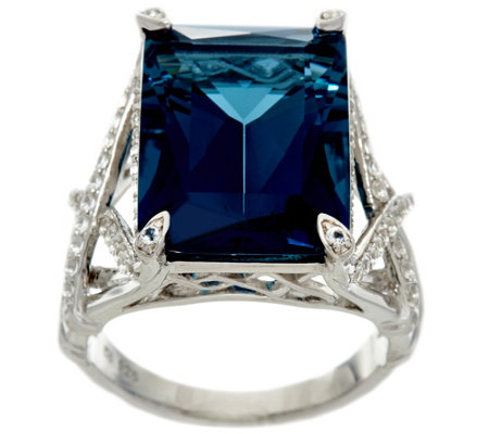 Emerald Cut London Blue Topaz Sterling Silver Ring, 14.00 ct