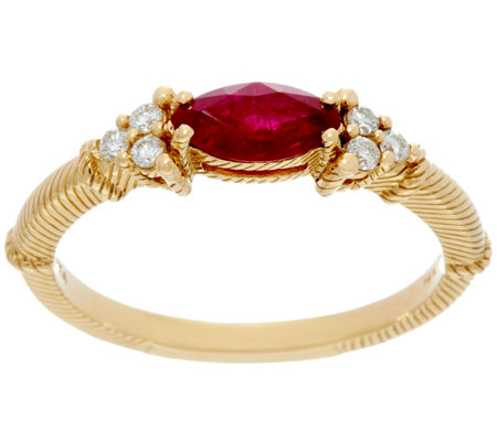 Judith Ripka 14k Gold Emerald or Ruby & 1/10 cttw Diamond Ring