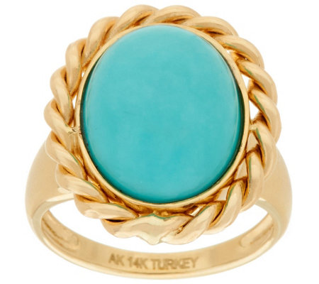 """As Is"" 14K Gold Polished Turquoise Ring with Woven Border"