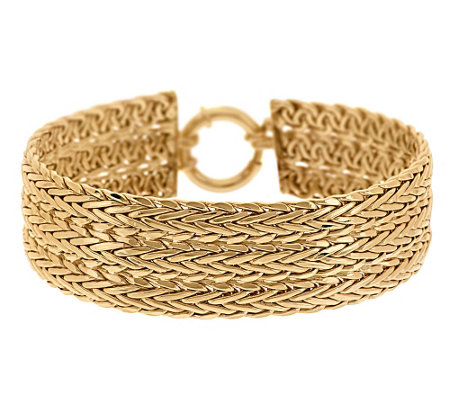 """As Is"" 7-1/4"" Triple Row Woven Bracelet 14K Gold, 16.7g"