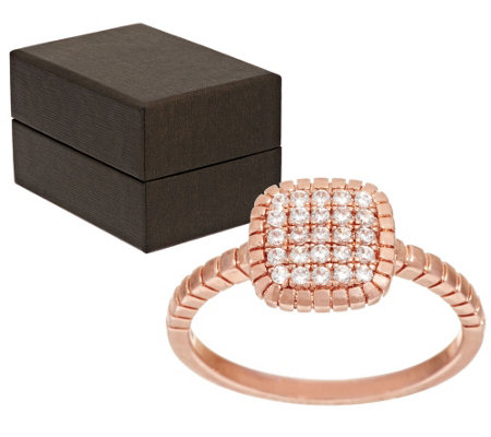 """As Is"" Bronze Pave' Crystal Cushion Shape Ring by Bronzo Italia"