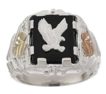 """As Is"" Black Hills Gold Eagle Ring w/ Onyx Center Sterling/ 12K - J334761"