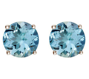 Premier 3.05 cttw Round Aquamarine Stud Earrings, 14K - J336161