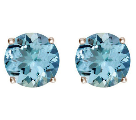 Premier 3.05 cttw Round Aquamarine Stud Earrings, 14K
