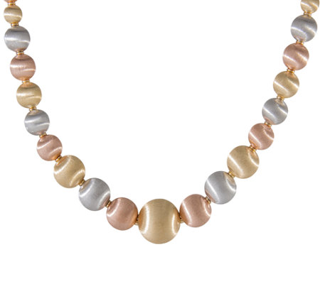 "Arte d'Oro 18"" Graduated Satin Bead Necklace, 18K   51.90g"