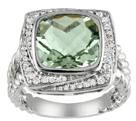 4.00cttw Cushion-Cut Green Amethyst & Diamond Ring, Sterling