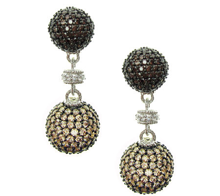 Judith Ripka Sterling Pave Multi Diamonique Drop Earrings