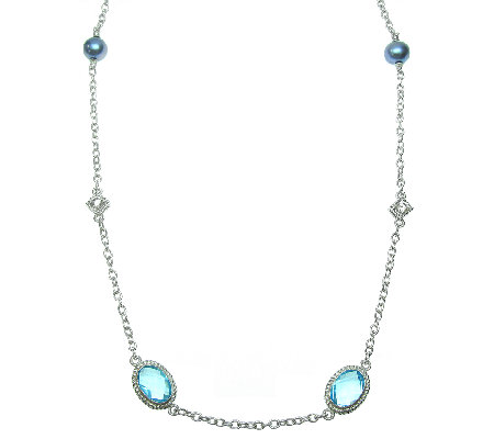 "Judith Ripka Sterling Blue Topaz & Black Pearl 36"" Necklace"