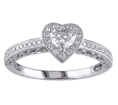Diamond Heart Halo Ring, 1/2cttw, 14K White Gold, by Affinity