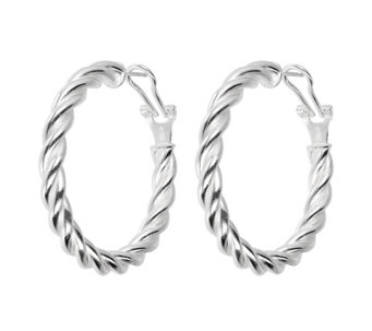 "UltraFine Silver 1-1/2"" Twisted Omega Back HoopEarrings - J339961"