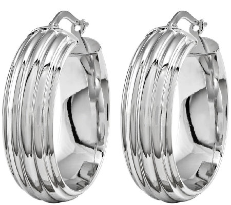 Polished Ribbed Hoop Earrings, 14K White Gold