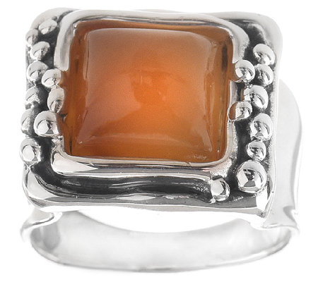 Hagit Sterling Square Carnelian Cabochon Ring