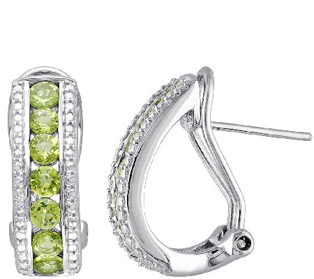 1.80cttw Peridot J-Hoop Earrings, Sterling Silver