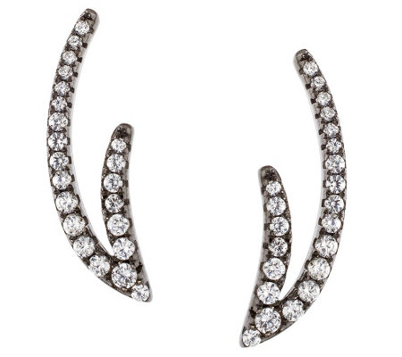 Vicenza Silver Double-Wave Crystal Ear ClimberEarrings