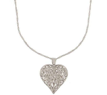 "Vicenza Silver Sterling Open-Heart Pendant w/ 24"" Chain"