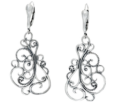 Carolyn Pollack Signature Sterling Scroll Earriings