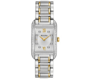 Bulova Ladies' Diamond Accent Rectangular Watch - J343961