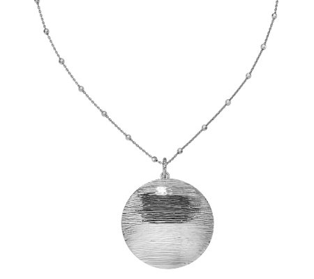 "Sterling Round Disk Pendant w/ 17"" Beaded Chain"