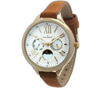 Peugeot Women's Multi-Function Tan Suede Watch - J344561