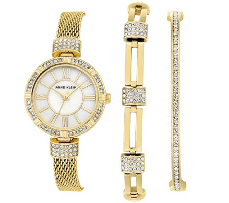 Anne Klein Goldtone Watch & Swarovski Crystal Bracelet Set