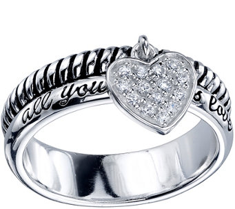 Extraordinary Life Sterling Crystal Heart Ring - J345361