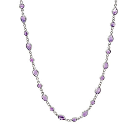 "Multi-Cut Amethyst Sterling Silver 24"" Station Necklace"