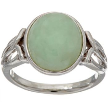 Burmese Jade Oval Sterling Silver Ring
