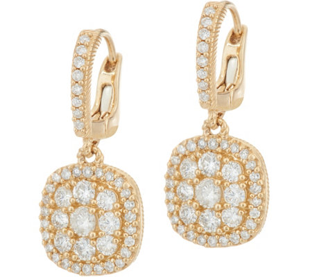 Judith Ripka 14K Gold 1.05 cttw Pave' Diamond Earrings