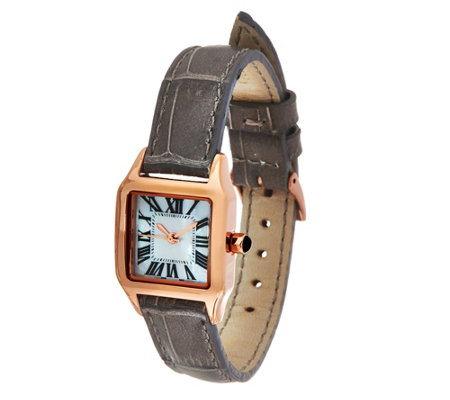 Rose Bronze Square Case Leather Strap Watch by Bronzo Italia