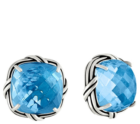 Peter Thomas Roth Sterling Cushion Cut Gemstone Clip-on Earring