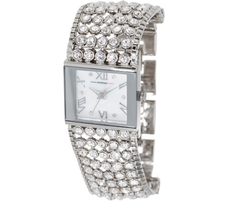 Isaac Mizrahi Live! Crystal Mesh Mother-of-Pearl Bracelet Watch