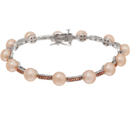 "Honora Cultured Pearl and Diamond 6-3/4"" Bracelet Sterling"