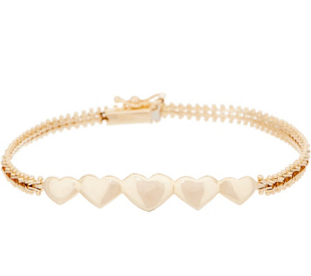 "Imperial Gold 6-3/4"" Heart Accent Bracelet, 14K Gold, 6.5g"