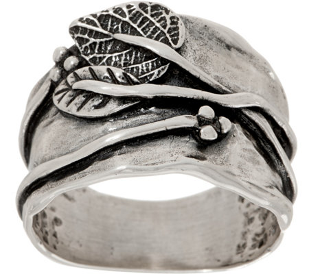 Or Paz Sterling Raised Leaf Graduated Band Ring