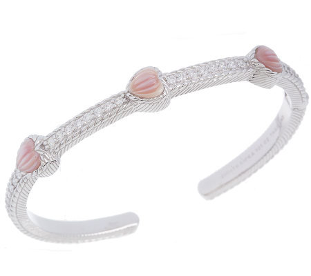 Judith Ripka Sterling Carved Pink Mother-of-Pearl Bangle