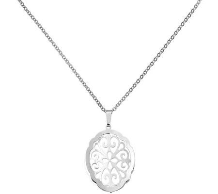 Sterling Oval Filigree Pendant w/ Chain, 6.5g by Silver Style